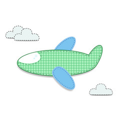 Cut out fabric or paper checkered green airplane vector