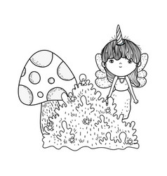 Cute little fairy with fungus and bush vector