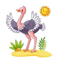 cute ostrich stands on the meadow vector image