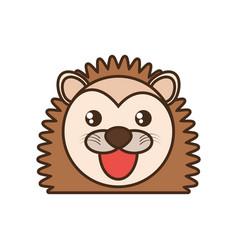 Cute porcupine face kawaii style vector