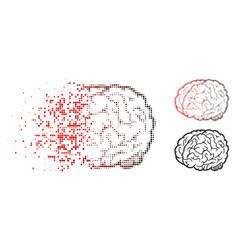 damaged pixelated halftone brain icon vector image