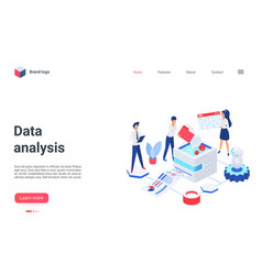 data analysis landing page database cloud storage vector image
