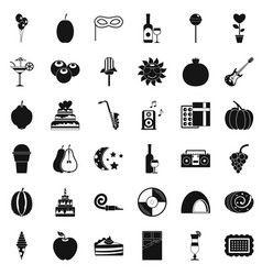 Decoration icons set simple style vector