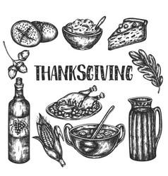 doodle thanksgiving set sketch design vector image