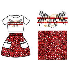 dress skirt pattern design for girls red leopard vector image
