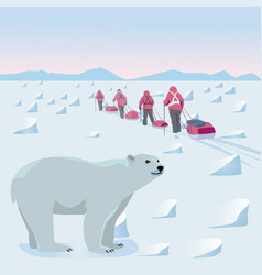 Expedition in arctic vector