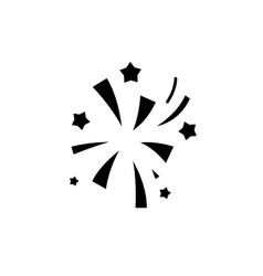 fireworks black icon sign on isolated vector image