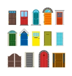 Front house doors flat set vector