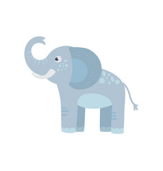 funny blue elephant with long trunk big ears and vector image