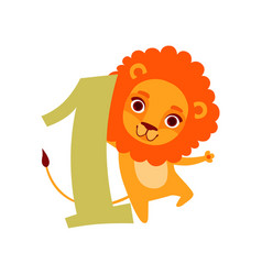 funny cute lion animal and number one birthday vector image