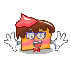 Geek sponge cake character cartoon vector