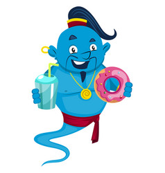 genie with donut on white background vector image