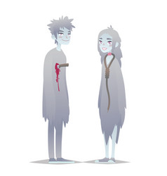 ghosts couple cute young boy and girl in style of vector image