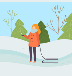 Girl wearing warm winter clothes standing with vector