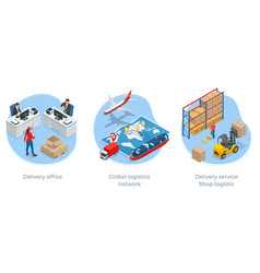 Global logistics network isometric vector