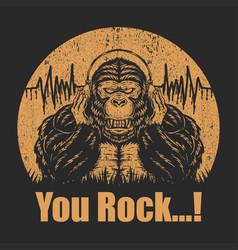 gorilla headphone vector image