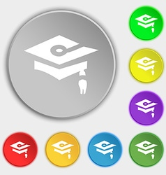 Graduation icon sign symbol on eight flat buttons vector