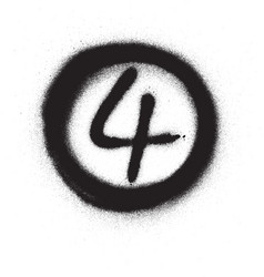 graffiti number four 4 in circle sprayed in black vector image