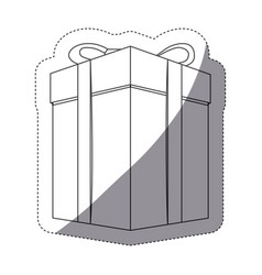 Grayscale contour sticker with gift box vector