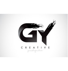 gy letter design with brush stroke and modern 3d vector image