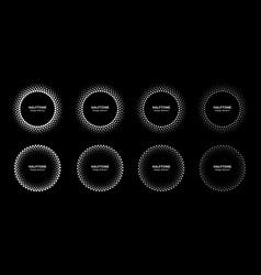 Halftone pattern circle dots frames set vector