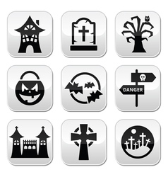 Halloween buttons set vector