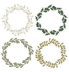Hand drawn set of retro wreath vector