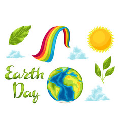 Happy earth day set of items vector