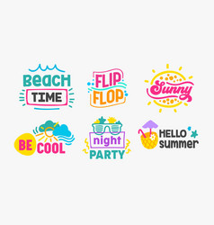 hello summer holidays labels and badges design vector image