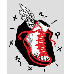 hermes foot sculpture crazy red style sneaker vector image