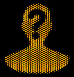 Hexagon halftone unknown person icon vector