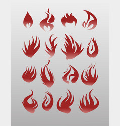 icons flames fire fire icon set - securit vector image