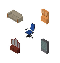Isometric furnishing set of sideboard couch vector