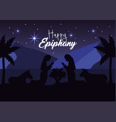 Joseph and mery with jesus and donkey with mule vector