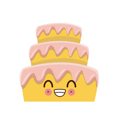 kawaii wedding cake smiling cartoon vector image