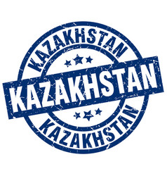 kazakhstan blue round grunge stamp vector image