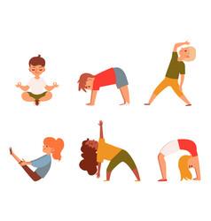 kids doing yoga - isolated cartoon character set vector image