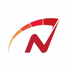 Letter n speedometer logo design vector