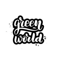 lettering green world vector image