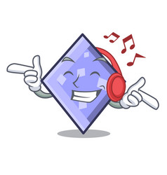 listening music rhombus mascot cartoon style vector image