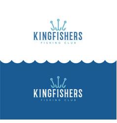 logo king fisher fishing sport club vector image