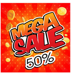 mega sale 50 gold coin red background imag vector image