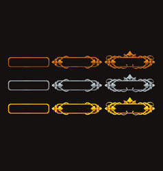 Metallic title banners set for epic game design vector