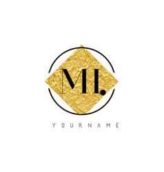 Mi letter logo with golden foil texture vector
