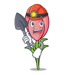 Miner crocus flower mascot cartoon vector