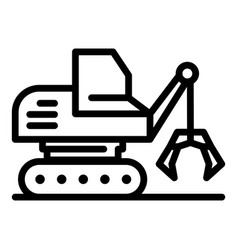 Mining excavator icon outline style vector