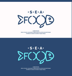 Modern conceptual set of logos sea food vector