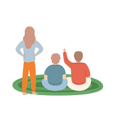 Mother and kids on carpet family back view vector