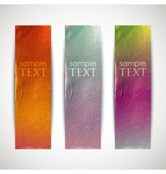 Multicolored banners with cardboard texture vector