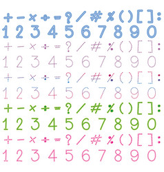 Numbers and signs in many colors vector